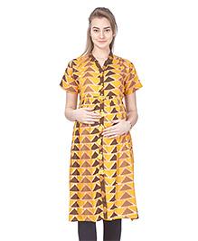 MomToBe Half Sleeves Printed Maternity Kurti With Tassels - Yellow