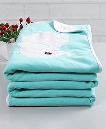 Babyhug Premium Fleece & Sherpa Blanket Elephant Patch - Sea Green
