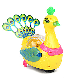 Playmate Musical Peacock Toy Yellow - Height 19.5 Cm