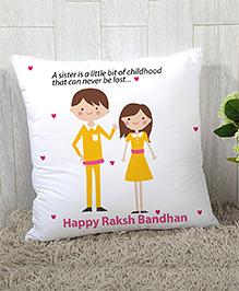 Stybuzz Raksha Bandhan Rakhi Gift Cushion Cover - White Yellow