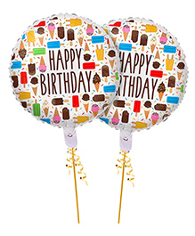 Amfin Round Shape Happy Birthday Foil Balloons Multicolor - Pack Of 2