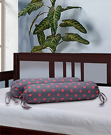 The Baby Atelier Bolster Cover With Fillers Polka Dot Print - Grey & Red