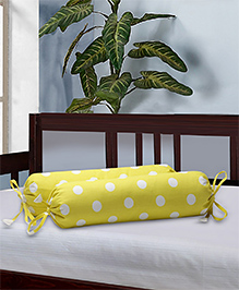 The Baby Atelier Bolster Cover With Fillers Polka Dot Print - Yellow & White