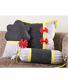 My Gift Booth Striped Cupcake Cushion Cover Set Black Yellow - Set Of 3