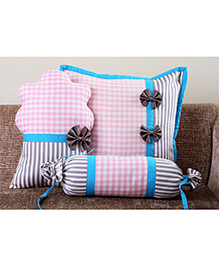 My Gift Booth Checks Cupcake Cushion Cover Set Pink Blue - Set Of 3