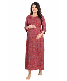 Mamma's Maternity Three Fourth Sleeves Dress Floral Print - Red