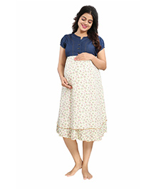 Mamma's Maternity Short Sleeves Rayon Dress Floral Print - Blue Off White