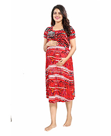 Mamma's Maternity Short Sleeves Rayon Dress Abstract Print - Red