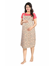 Mamma's Maternity Short Sleeves Rayon Dress Floral Print - Peach Beige