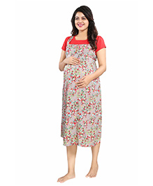 Mamma's Maternity Short Sleeves Rayon Dress Floral Print - Red Grey