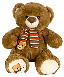 Dhoom Soft Toys Teddy Bear With Muffler Brown - Height 40 Cm