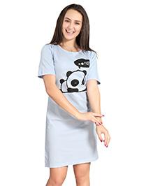 Piu Half Sleeves Maternity Nighty Panda Print - Blue