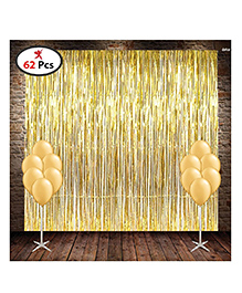 Party Propz Metallic Fringe Foil Curtain With Latex Balloons Pack Of 62 - Golden