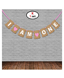 Party Propz First Birthday Banner - Brown