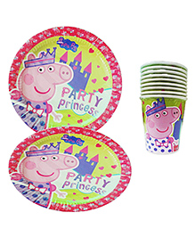 Party Propz Paper Plates & Cups Combo Multicolour - 20 Pieces