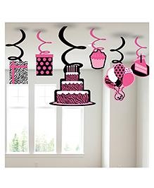 Happy Birthday Birthday Hanging Swirls Pink - 6 Pieces