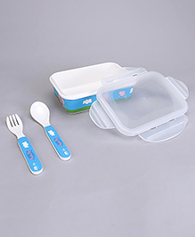 Peppa Pig Lunch Box With Fork & Spoon - Blue White