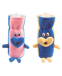Ole Baby Plush Feeding Bottle Cover Pack Of 2 Pink & Blue - 500 Ml