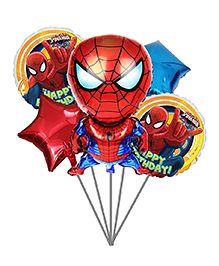 Party Propz Spiderman Balloon Bouquet Pack Of 5 - Red & Blue