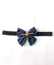 Knotty Ribbons Rose Print Bow Applique Headband - Navy Blue