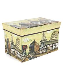 Rectangle Shape Foldable Storage Box Eiffel Tower Print - Multi Color