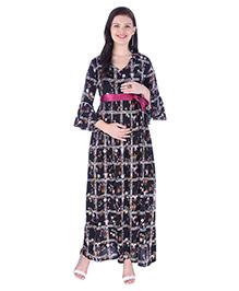 MomToBe Three Fourth Sleeves Checked Dress - Black