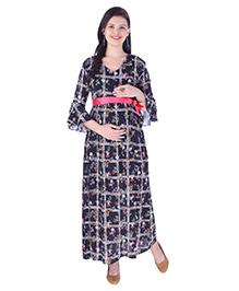 MomToBe Three Fourth Sleeves Checked Dress - Navy