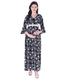 MomToBe Three Fourth Sleeves Checked Dress Flower Print - Blue