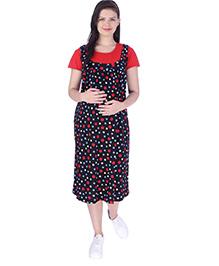 MomToBe Short Sleeves Dress Polka Dot Print - Red Black