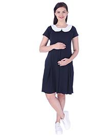 MomToBe Short Sleeves Maternity Dress - Blue - 2230796