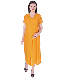 MomToBe Short Sleeves Maternity Dress - Yellow