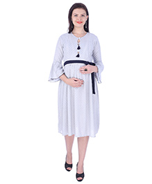 MomToBe Three Fourth Sleeves Maternity Dress - Blue