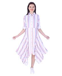 MomToBe Three Fourth Sleeves Maternity Dress - White Pink Purple