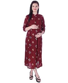 MomToBe Three Fourth Sleeves Maternity Nursing Dress - Red