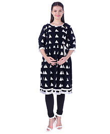 MomToBe Three Fourth Sleeves Maternity Nursing Kurti Geometric Print - Black