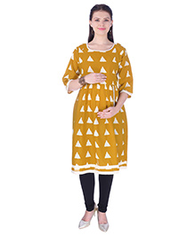 MomToBe Three Fourth Sleeves Maternity Nursing Kurti Geometric Print - Yellow