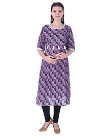MomToBe Three Fourth Sleeves Maternity Nursing Kurti Tussle Design - Blue