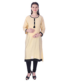 MomToBe Three Fourth Sleeves Maternity Kurti - Macaroon Beige