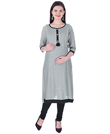 MomToBe Three Fourth Sleeves Maternity Kurti - Sage Green