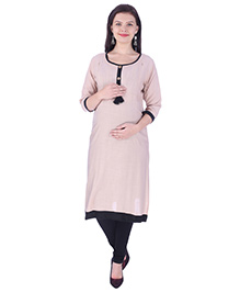 MomToBe Three Fourth Sleeves Maternity Kurti - Tortila Brown