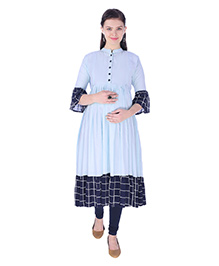 MomToBe Three Fourth Sleeves Maternity Kurti - Sapphire Blue