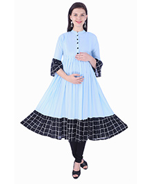 MomToBe Three Fourth Sleeves Maternity Kurti - Light Blue