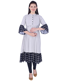 MomToBe Three Fourth Sleeves Maternity Kurti - Grey