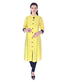 MomToBe Three Fourth Sleeves Maternity Kurti - Bumblebee Yellow