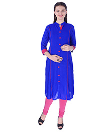 MomToBe Three Fourth Sleeves Maternity Kurti - Zaffre Blue