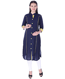 MomToBe Three Fourth Sleeves Maternity Kurti - Navy Blue