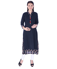 MomToBe Three Fourth Sleeves Maternity Kurti - Blue