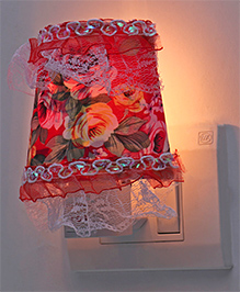 LED Night Lamp With Floral Printed Fabric - Red
