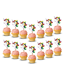 Party Propz Unicorn Cupcake Toppers Multicolour - 14 Pieces