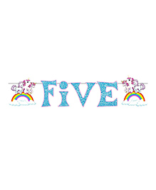 Party Propz Unicorn Themed Fifth Birthday Party Banner - Blue